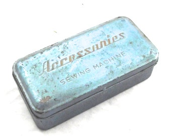 Sale 50% Off, Sewing Machine Accessories Tin, Vintage Hinged Box in Blue (DB2)