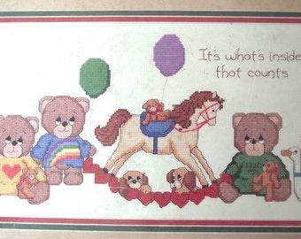 Dale Burdett Large Cross Stitch Kit, Teddy Bears and Toys Vintage Unused Kit