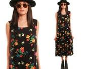 POPPY 90s Sweet Black Bright Floral Cotton Boho Spring Summer Folk Jumper Day Dress