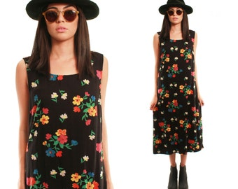 POPPY 90s Sweet Black Bright Floral Cotton Boho Spring Summer Folk Jumper Day Dress