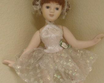 "Vintage Ballerina 8"" Doll  Porcelian"