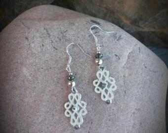 Antique Metal Scroll Sterling Silver Earrings, White Scroll Sterling Silver Earrings, Scroll Silver Earrings