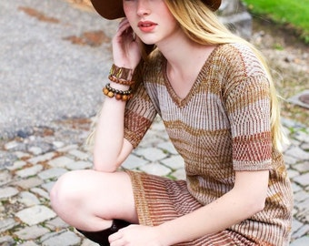 Knitted linen with biocotton dress EARLY SPRING-March.