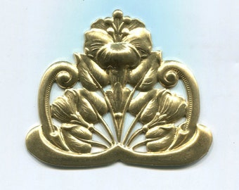 2 Art Nouveau Poppy Flower Btass Metal Stampings