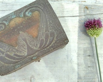 Vintage trinket box wood and metal art noveau style