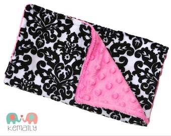 Hot Pink & Black Damask Minky Burp Cloth, Drool Bib, Baby Shower Gift, New Mom Essentials, Mordern Burp Cloth, Drooling Bib, Baby Shower