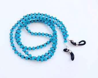 Eyeglasses holder turquoise faceted crystals beads beautiful eyeglasses neck chain N17
