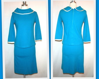 1960s Toni Todd/Turquoise and White/ Mod Skirt and Top Set