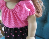 American Girl Doll Clothes, hot pink and black outfit for 18 inch doll