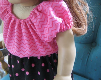 18 Inch Doll Clothes, hot pink and black outfit for 18 inch doll