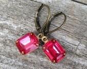vintage dark rose pink rhinestones   hot pink   wedding   bridal party   dames and divas earrings