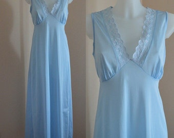 Vintage Nightgown, Vintage Pale Blue Nightgown, Nightgowns, Vintage Blue Nightgown, Vintage Lingerie, Summer Nightgowns
