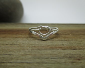 Tiny Forget me knot, knot and chevron ring set in sterling silver