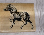 Zebra Stamp on Wood Base - Running Zebra Stamp Gently Used - Large Wood Stamp - Ready To Ship