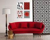 White black red - custom color- Ikat Bird Wall Art Modern Prints Set of (4)  see color variations! Bird on Tree Flower Burst Sizes Available