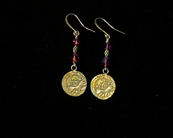 Sterling Silver Coin Dangles w/Purple Beads