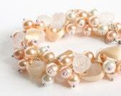 Nude White Rose Cluster Bracelet and Earrings Set