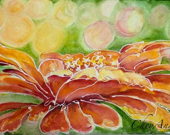 ORIGINAL Zinnia Bokeh Flower Art - Bright Orange Red with bokeh WaterColour  ORIGINAL watercolor Paper