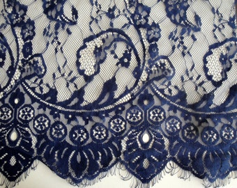 "1.75 Yards 45"" Wide Navy Blue Floral Stretch Lace Fabric Bridal Wedding Eyelash Victorian Style Scalloped Lace for Lingerie FJT2"