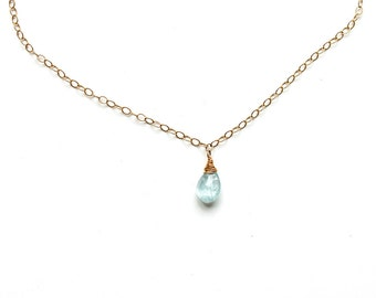 Blue Aquamarine Necklace / Aquamarine Short Pendant /  Everyday Simple Aquamarine Choker on 14K Gold Filled or Sterling Silver Chain