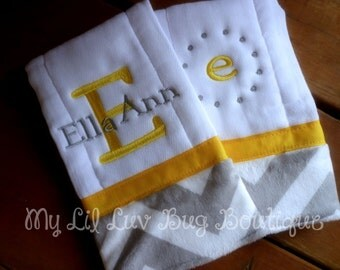 Personalized Burp cloth set prefold diaper- canary yellow with grey and white chevron print- set of two