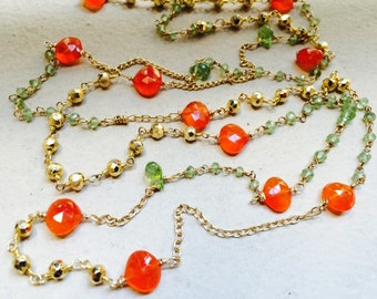 "OOAK Necklace Gold Peridot Carnelian Stone. 38 "" long."