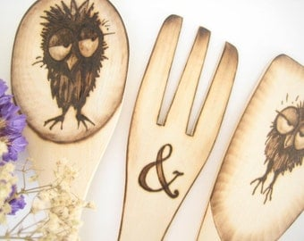 Wedding Gifts for Couple/ Owl Wedding/ Wooden Spoon Spatula Fork/ Mr & Mrs/ His and Hers/ Personalized/ Rustic Cake Topper Alternative/ Owls