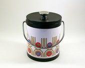 Mod Enameled Metal Ice Bucket -- Made in Japan