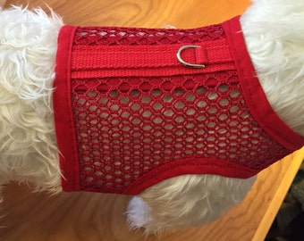 Breathable Red  Mesh Summer Small Dog Harness Made in USA
