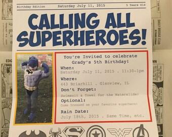CUSTOM Superhero Newspaper Invitation