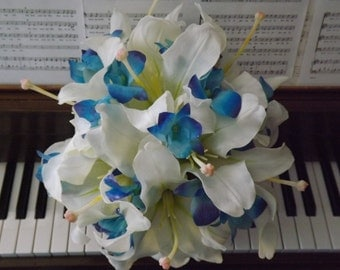 Bridal bouquet made with blue purple galaxy orchids and real touch Casablanca lilies, choose your orchid