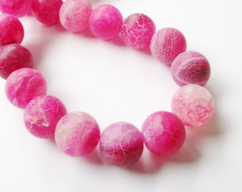 "Pink Agate Round Beads - Frosted Agate - Dream Dragon Agate - Matte Crackle Vein - Large Weathering Round Gemstone - 15mm - 7.5"" Strand"
