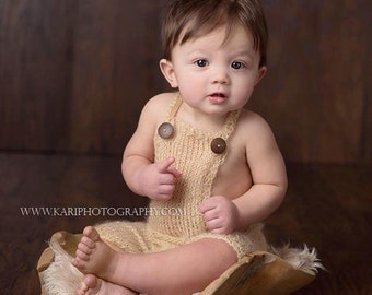6 to 12 month Knit Mohair Overalls - Tan - Gray - Mohair - Wood buttons - Photography Prop