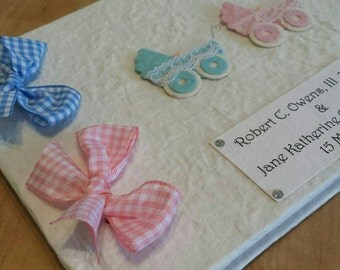 Personalized New Baby Twins Girl and Boy Prams Memory Book