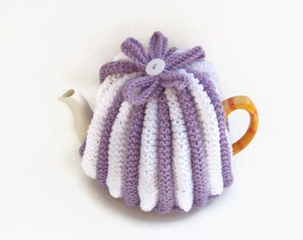 teapot cozy hand knitted tea cosies lilac and white tea cosy