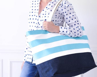 EXTRA Large Beach Bag // Nautical Ocean Blue Stripes, Monogram Available