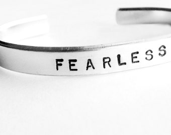 Hand Stamped Cuff Bracelet - FEARLESS