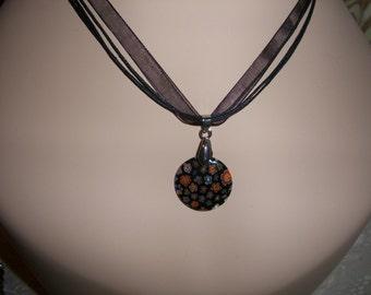 Black Millefiori, Round Disk Necklaces,Black Organza Cord, by Bendas Beading on Etsy