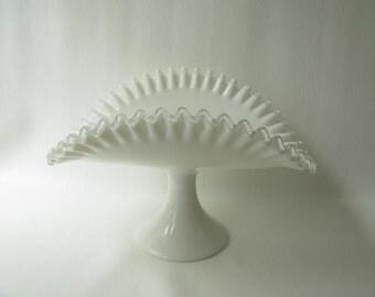 Vintage Fenton Silvercrest Milk Glass White Centerpiece, Pedestal,