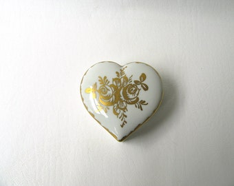 Vintage heart box, porcelain,  French, trinket box, Golden Anniversary