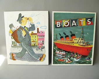 Vintage Playskool  Puzzles, Your Choice, Child's Room Decor, Boats, Policeman
