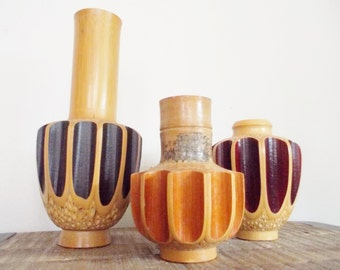 Collection of Three Mid Century Modern Lacquered Bamboo Vases