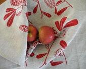 Linen Tea Towel Screen Printed Linen Tea Towel Hand Printed Tea Towel Australian Banksia Red&Natural