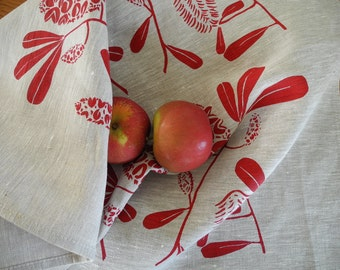 Linen Tea Towel Screen Printed Linen Tea Towel Hand Printed Tea Towel Australian Banksia Red&Natural