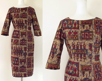 60s wiggle dress / vintage 60s hourglass dress / 60s beige red blue print day dress / size small medium average