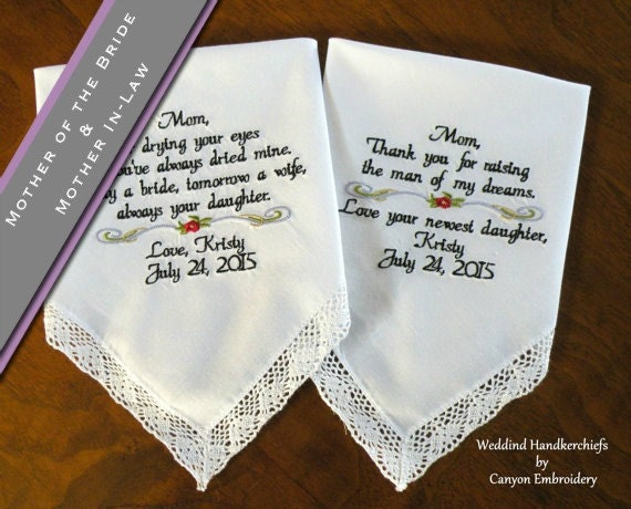 Wedding Gift For Mother In Law: Embroidered Wedding Handkerchief Gifts For Mom By