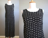 Maxi Dress Vintage Loose Black Tan Crinkle Summer Medium
