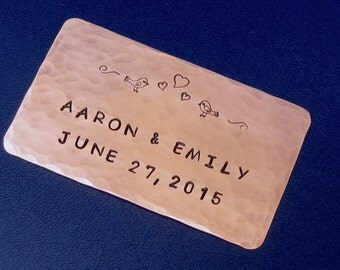 Journal or Photo Album Plaque - Personalized - Hand Stamped Copper Anniversary Or Wedding Gift