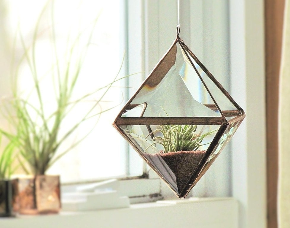 Geometric Air Plant Holder Stained Glass Hanging Terrarium