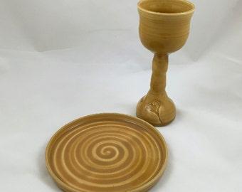Yellow Ginkgo Chalice and Paten Communion Set Handmade Pottery by Daisy Friesen
